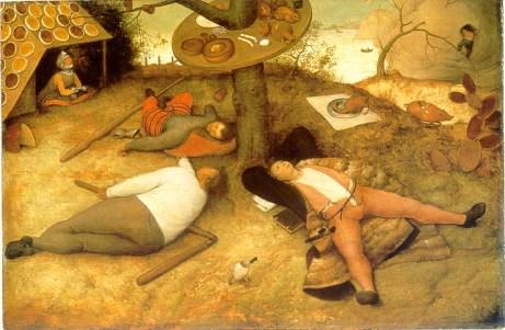 """El País de Jauja (en francés """"Le Pays de Cocagne""""), obra de Pieter Brueghel el Viejo, 1567"""