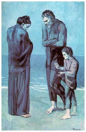 """""""La Tragedia"""", de Pablo Picasso, 1903. Período Azul, inspirado en el suicidio de un amigo del pintor"""