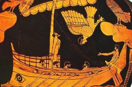 Ulises y las sirenas (cerámica ática, 480–470 a. C., Museo Británico). Fuente: Wikipedia