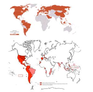 Arriba: el imperio Inditex en 2008. Abajo: el imperio de Felipe II, durante su anexión con el portugués